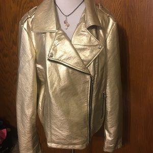 Forever 21 gold faux leather jacket NWT 3X